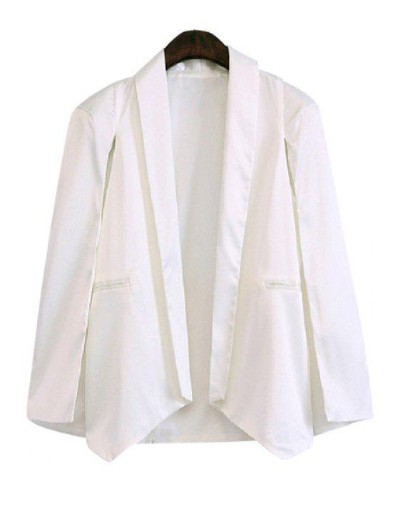 shop Shawl Collar Solid Color Asymmetrical Long Sleeve Blazer - WHITE XS