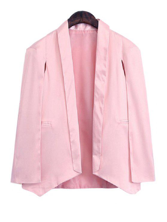 women's Shawl Collar Solid Color Asymmetrical Long Sleeve Blazer - PINK 3XL