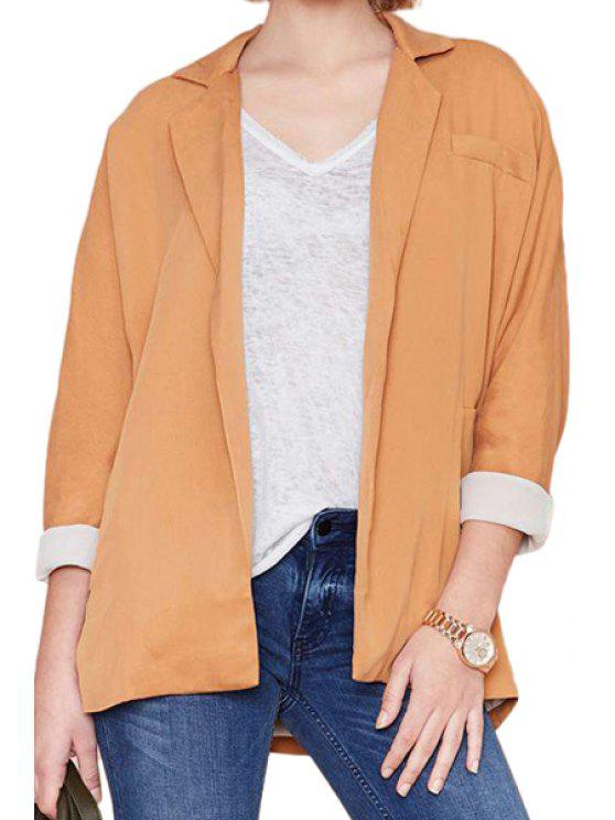 buy Orange Lapel Long Sleeve Blazer - ORANGE 2XL