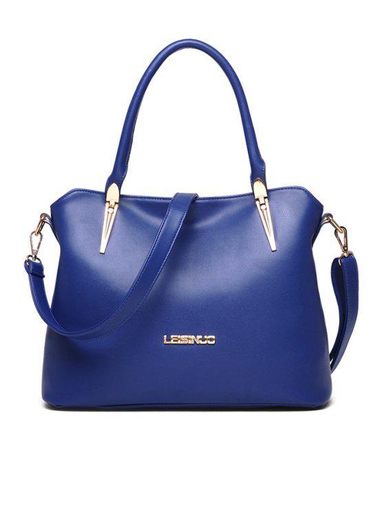 latest Rhinestones Metal PU Leather Tote Bag - BLUE