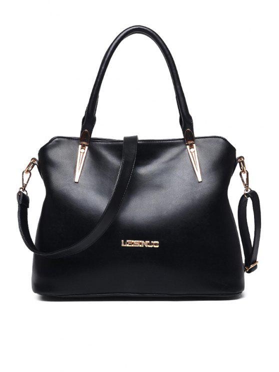 fancy Rhinestones Metal PU Leather Tote Bag - BLACK