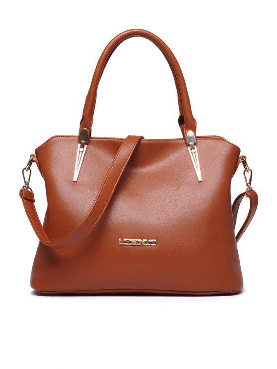 affordable Rhinestones Metal PU Leather Tote Bag - BROWN