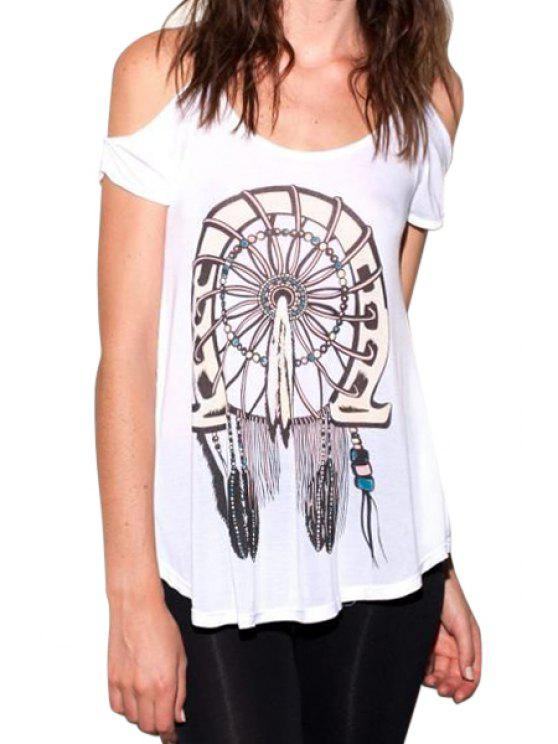 ladies Feather Print Short Sleeve Cut Out T-Shirt - WHITE S