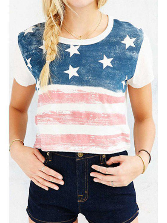 hot Short Sleeve American Flag Print T-Shirt - AS THE PICTURE S