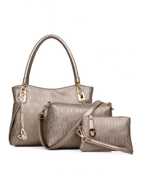 shops Embossing Butterfly Pendant Metal Shoulder Bag - GOLDEN