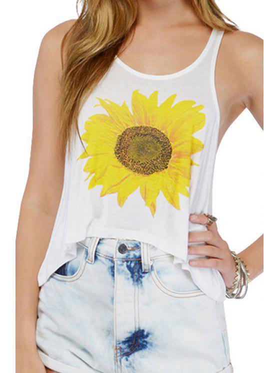 fashion Sunflower Print Scoop Neck Tank Top - WHITE S