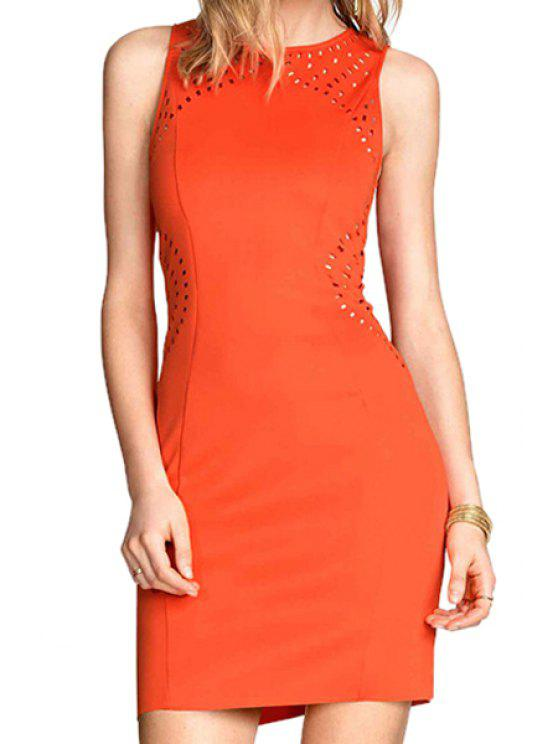 hot Orange Hollow Out Sundress - ORANGE S