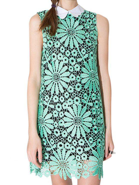 ladies Lace Hollow Out Sleeveless Dress - GREEN S