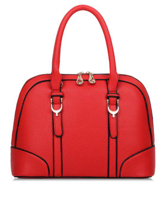 buy Belt Color Block PU Leather Tote Bag - RED