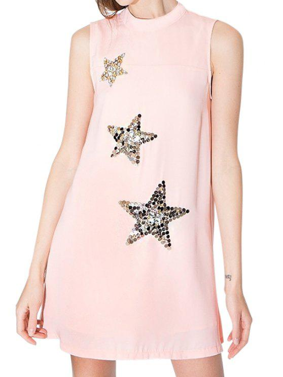outfits Star Pattern Sleeveless Dress - PINK S