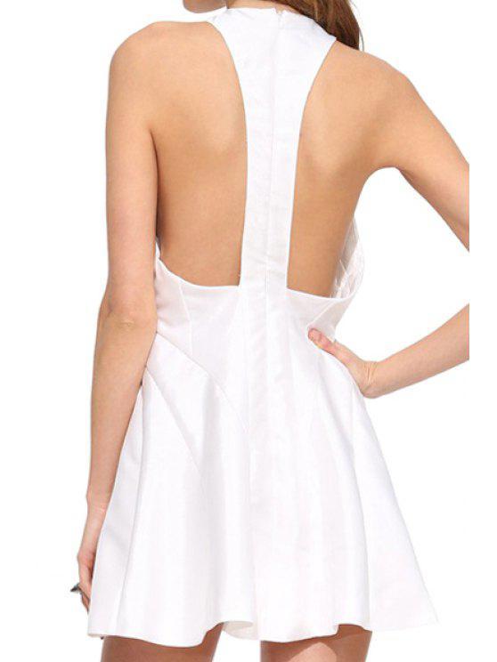 sale White Sleeveless A Line Dress - WHITE S