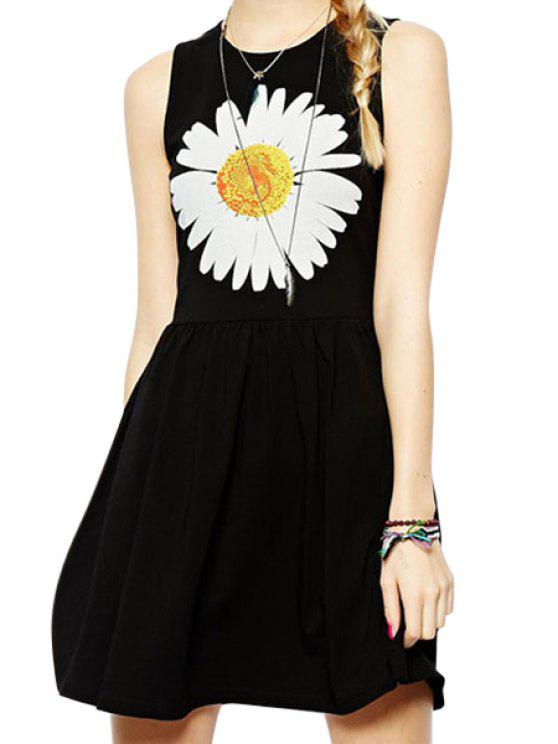 new Flower Print A Line Sundress - BLACK S