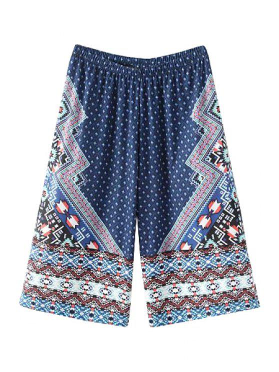 sale High-Waisted Wide Leg Printed Capri Pants - BLUE ONE SIZE(FIT SIZE XS TO M)