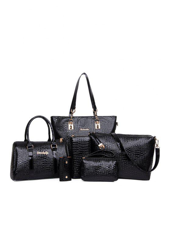 chic Patent Leather Crocodile Print Shoulder Bag - BLACK