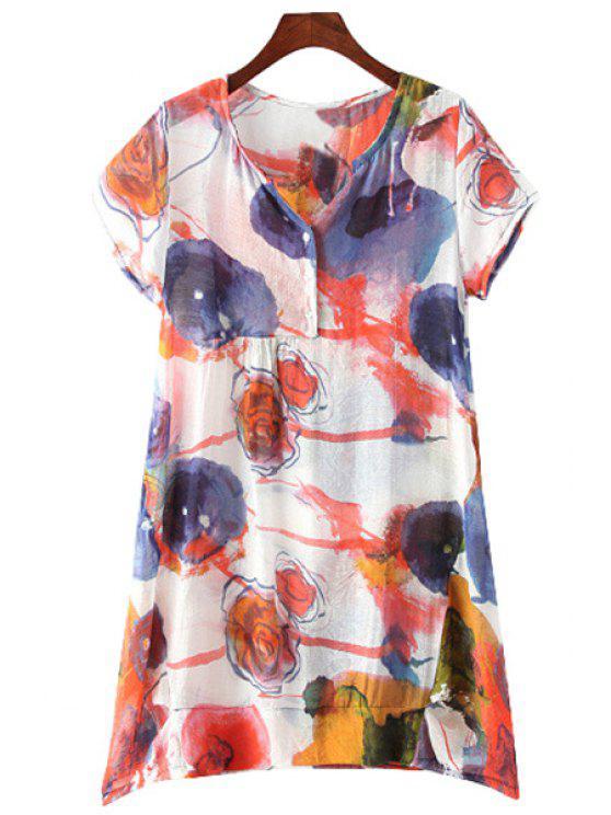 outfit V-Neck Floral Print Button Design Dress - COLORMIX L