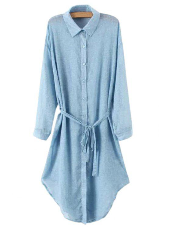 new Solid Color Belt Long Sleeve Shirt - LIGHT BLUE ONE SIZE(FIT SIZE XS TO M)