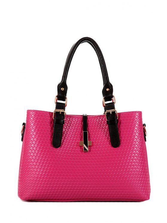 online Buckle Cross Woven Pattern Tote Bag - ROSE