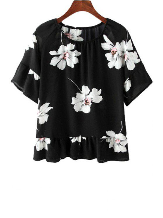 outfits Round Neck Floral Print Ruffles Chiffon Blouse - BLACK ONE SIZE(FIT SIZE XS TO M)