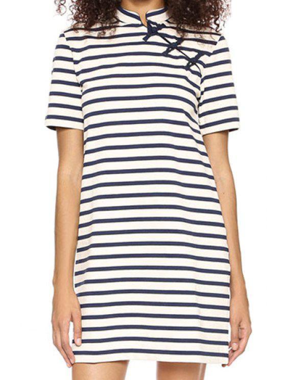 fancy Striped Stand Neck Short Sleeve Dress - STRIPE S