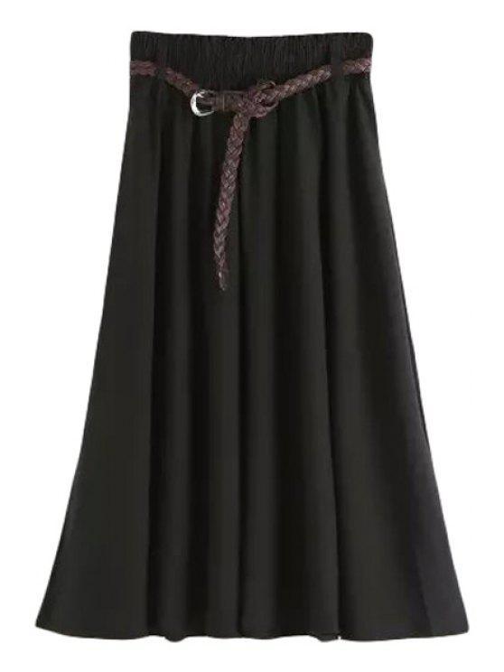 women's Solid Color Elastic Waist Belt Long Skirt - BLACK M