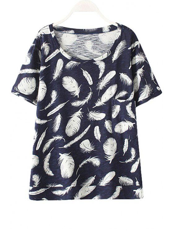 sale Round Neck Feathers Print Pocket T-Shirt - PURPLISH BLUE ONE SIZE(FIT SIZE XS TO M)