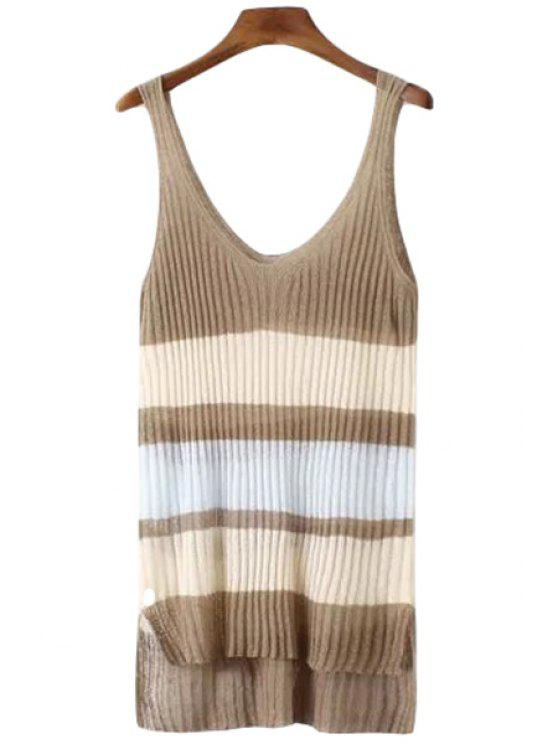 shop Color Block Stripe High Low Sleeveless Sweater - LIGHT COFFEE ONE SIZE(FIT SIZE XS TO M)