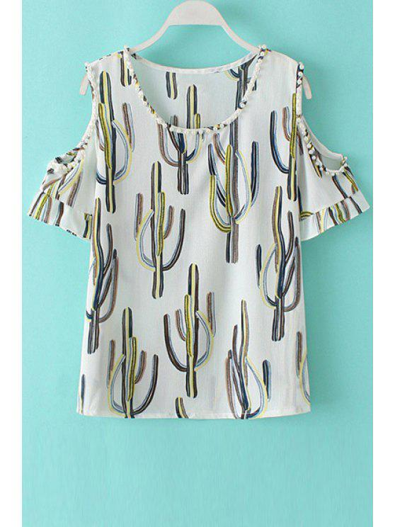 womens Round Neck Cut Out Cactus Print Beading T-Shirt - WHITE L