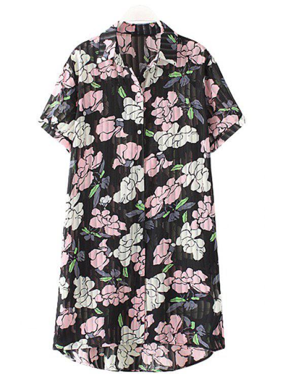 shop Shirt Collar Chiffon Floral Print Single-Breasted Blouse - BLACK XL