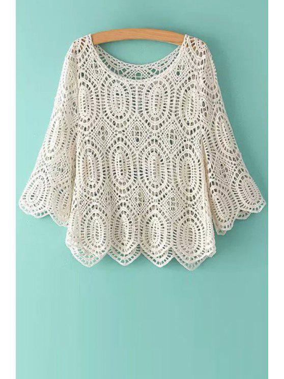 women's Solid Color Openwork Half Sleeve T-Shirt - OFF-WHITE ONE SIZE(FIT SIZE XS TO M)