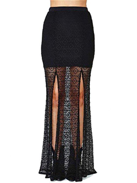 women's Black Lace High Waist Skirt - BLACK S