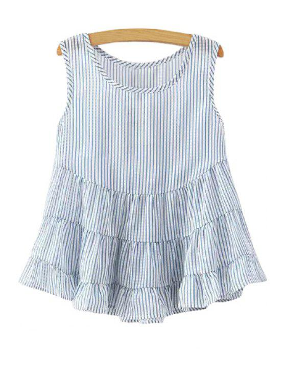 fashion Jewel Neck Stripe Flounce Splicing Tank Top - LIGHT BLUE S