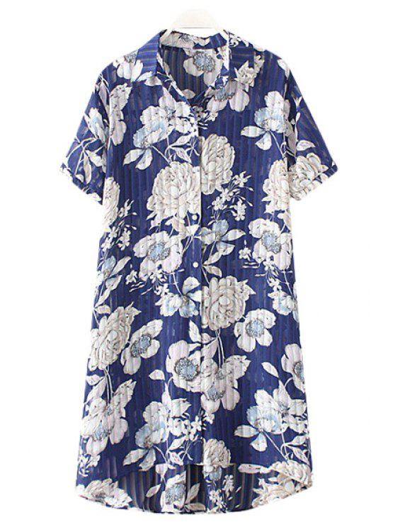 latest Shirt Collar Chiffon Flower Print Single-Breasted Blouse - BLUE XL