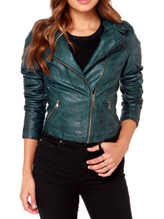 women's PU Leather Turn-Down Collar Jacket - BLACKISH GREEN S