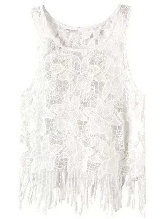outfit Floral Pattern Tassels Spliced Lace Tank Top - WHITE L