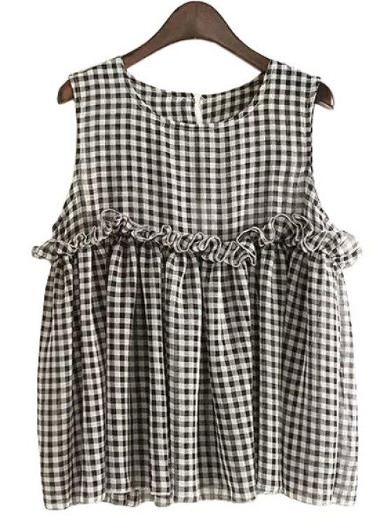 sale Plaid Flounce Splicing Sleeveless Tank Top - CHECKED S