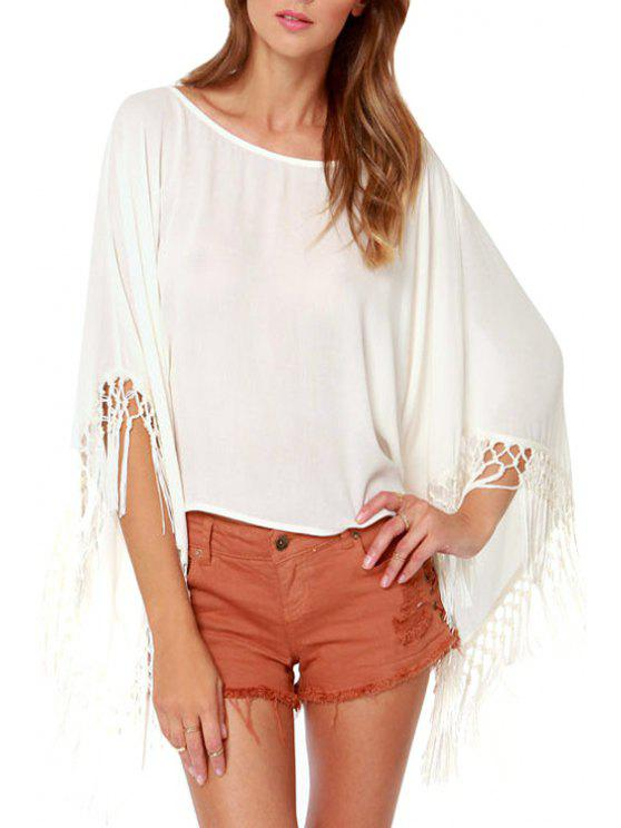 chic Bat-Wing Sleeve White Backless Blouse - WHITE M