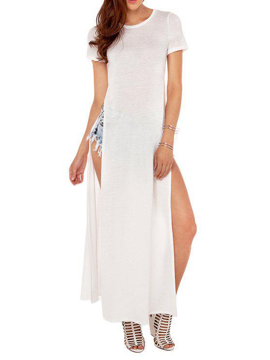 unique High Slit Short Sleeve T-Shirt - WHITE S