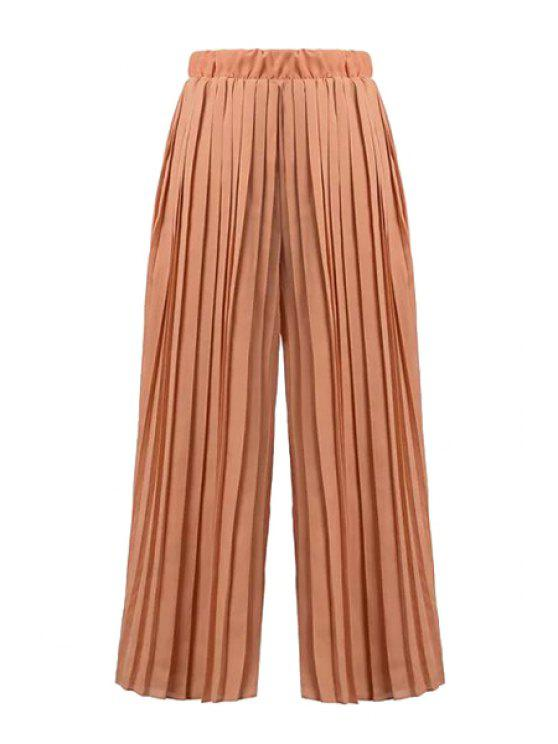 new Solid Color Ruffle Loose-Fitting Pants - KHAKI S