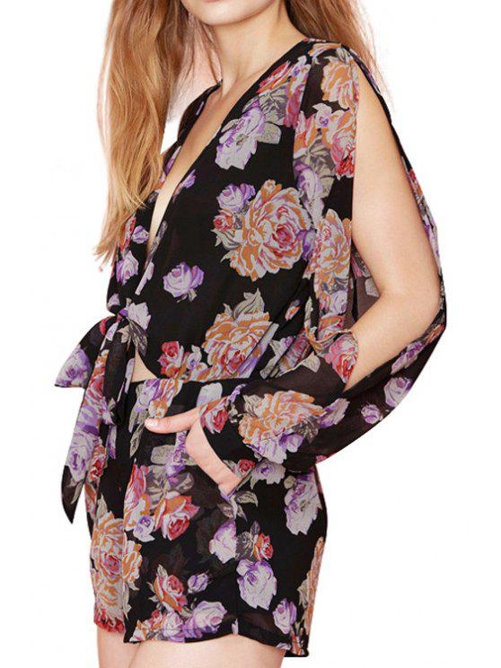 women Floral Plunging Neck Chiffon Romper - BLACK XL
