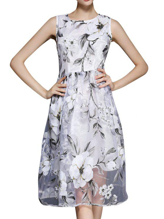 womens Floral Voile A Line Sundress - WHITE M