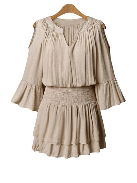 new Solid Color 3/4 Sleeve Hollow Dress - NUDE 5XL