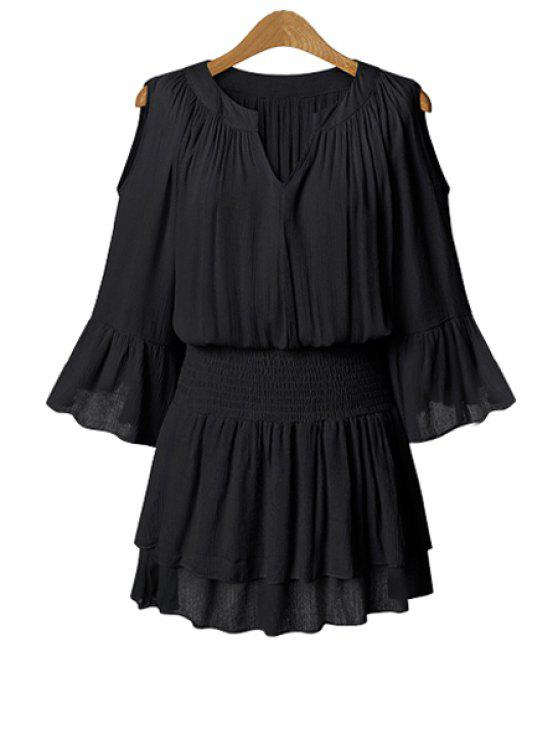 shops Solid Color 3/4 Sleeve Hollow Dress - BLACK 5XL