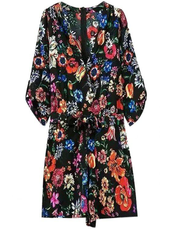 womens Floral Print 3/4 Sleeve Playsuit - COLORMIX S