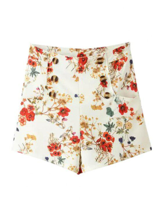 ladies Tiny Floral Print Side Zipper Shorts - WHITE S
