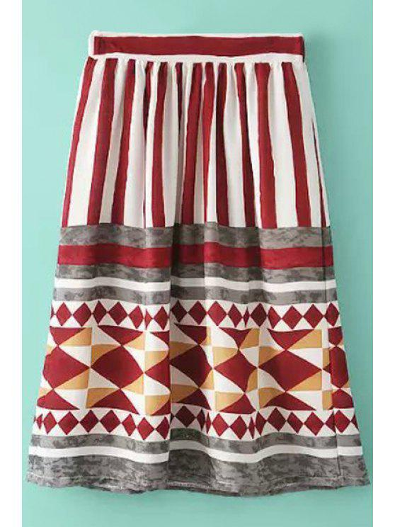 chic Color Block Stripe Geometric Print Skirt - RED ONE SIZE(FIT SIZE XS TO M)