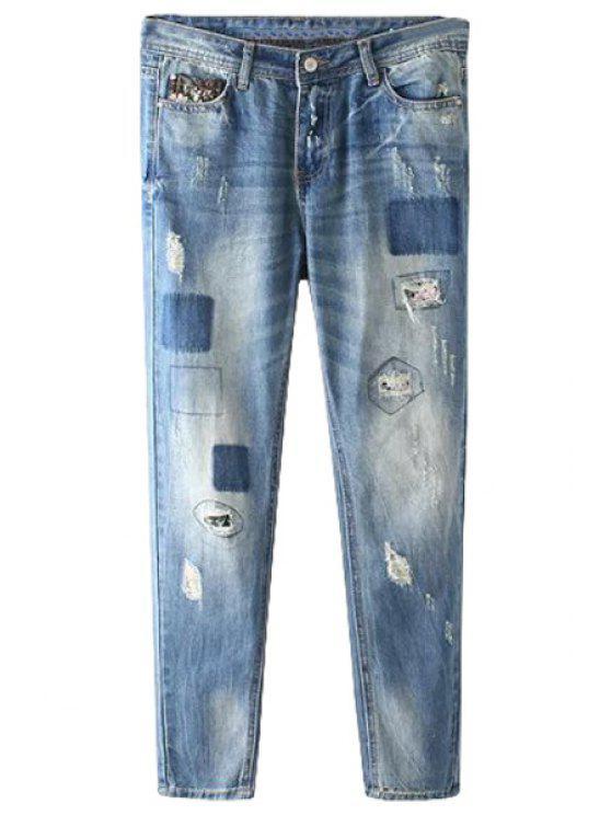 lady Vintage Patch Broken Hole Jeans - DEEP BLUE XS