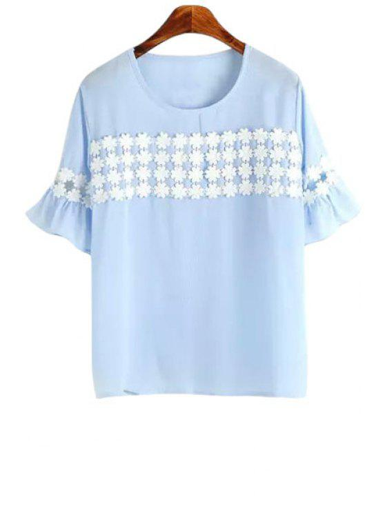 sale Floral Embroidery Spliced Short Sleeve T-Shirt - BLUE ONE SIZE(FIT SIZE XS TO M)