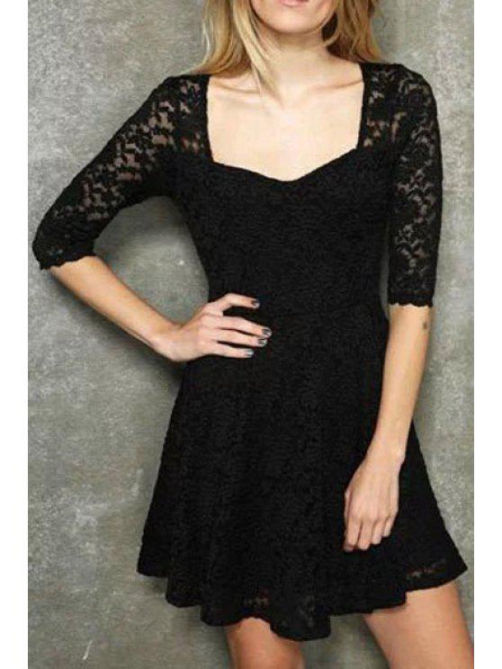 women's Lace Half Sleeve A Line Dress - BLACK S