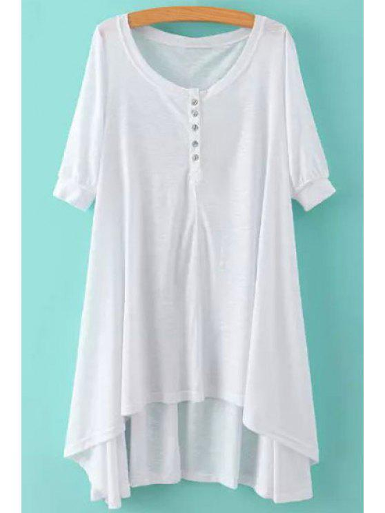 fancy Solid Color Half Sleeve Loose-Fitting Dress - WHITE S
