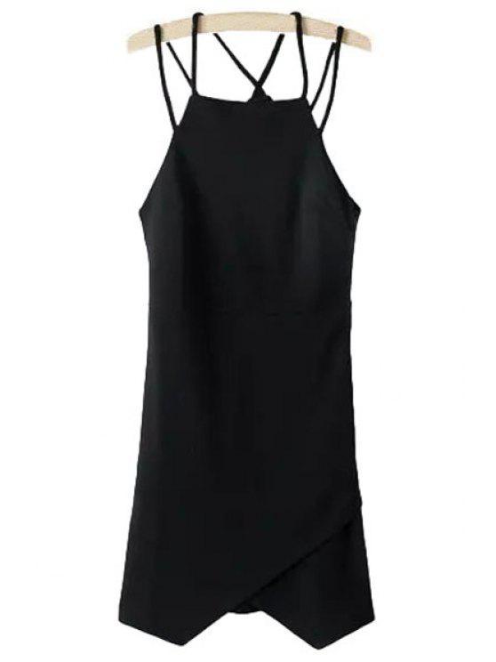 shop Irregular Hem Spaghetti Strap Dress - BLACK S